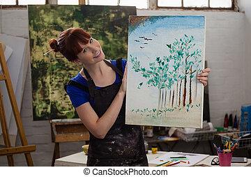 neki, gyönyörű, portré, birtok, festmény, nő