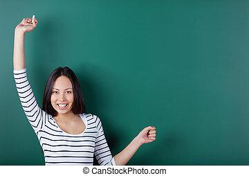neki, kifeszítő, feláll, fegyver, diák, boldog