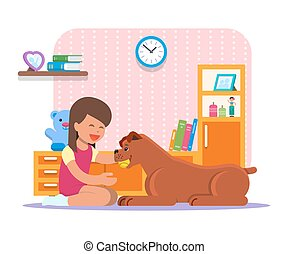 neki, kutya, ábra, vektor, otthon, leány, játék