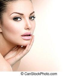 neki, leány, ásványvízforrás, arc, portrait., megható, gyönyörű woman, szépség