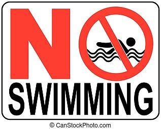 nem, ábra, vektor, figyelmeztetés, signs., úszás