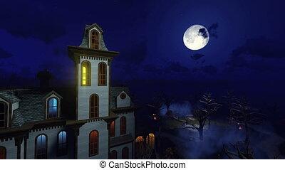 nemesi kúria, ijedős, éjszaka, 4k, hold
