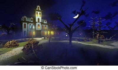 nemesi kúria, ködös, kísértetjárta, 4k, éjszaka