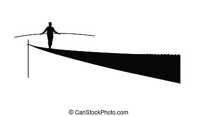 nemezelőmunkás, kifeszített kötél