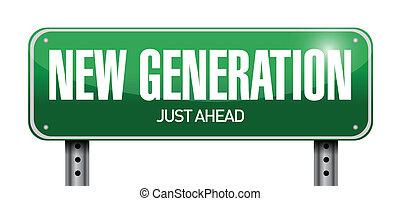 nemzedék, ábra, aláír, tervezés, új, út