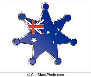 nemzeti, ausztrália, érem, lobogó