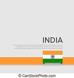 nemzeti, befest, állam, indiai, háttér., lobogó, vektor, fehér, lakás, design., poster., rribbon, fedő, india, hazafias, repülő