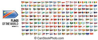 nemzeti, háttér, ábra, vektor, countries., fehér, zászlók