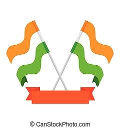 nemzeti, háttér, india, zászlók, white szalag, zászlók