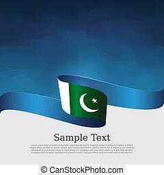 nemzeti, repülő, befest, állam, fehér, pakisztán, hazafias, vektor, fedő, transzparens, szalag, hullámos, design., háttér., kék, lobogó, poster.