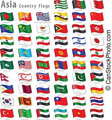 nemzeti, vektor, állhatatos, lobogó, ázsiai