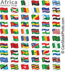 nemzeti, vektor, állhatatos, lobogó, afrikai