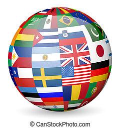 nemzeti, zászlók, földgolyó