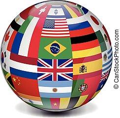 nemzetközi, földgolyó, zászlók