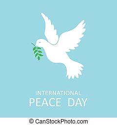 nemzetközi, galamb, olajbogyó, béke, elágazik, nap