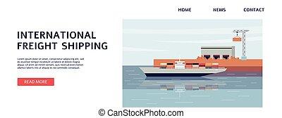 nemzetközi, rakomány, rakomány, hajózás, sablon, tenger, transzparens, rév, hajó
