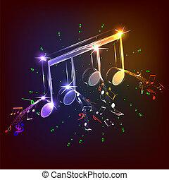 neon, hangjegy, zene, színes