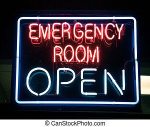 neon, megvilágít, vagy, amerika, aláír, éjszaka, szoba, irányított, nyílik, szükséghelyzet