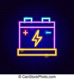 neonreklám, accumulator, elem