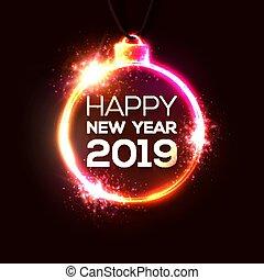 neonreklám, misét celebráló, év, technológia, elektromos, banner., háttér., 2019, új, ünnep, karácsony, boldog, megvilágít, repülő, fél, kártya, illustration., alakú, decoration., vektor, meghívás, design.