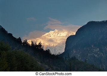 nepál, napkelte, hegy
