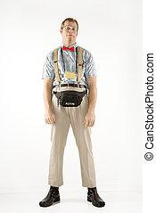 nerd., öltözött, ember