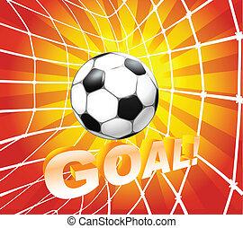 net., labda, (soccer), gól, labdarúgás