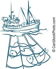 nettó, halászhajó
