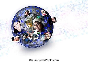 networking, emberek, média, globális, kapcsolatok, társadalmi