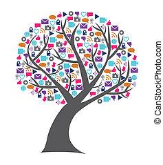 networking, ikonok, média, fa, társadalmi, technológia, megtöltött