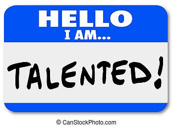 networking, név, becsületes, bevezetés, munka, címke, szia, tehetséges