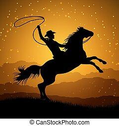 nevelés, ló, lasszó, árnykép, cowboy