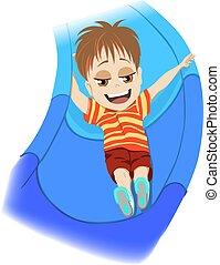 nevető, játszótér, ábra, concept., kék, fiú, játék, gyerekek, lövés, fiatal, élvezet, csúszás, vektor, lefelé, színes, gyermekkor, karikatúra, boldog