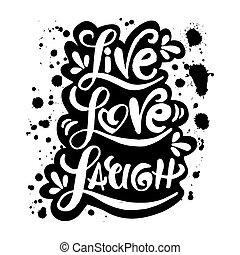 nevet, él, szeret, kéz, szavak, lettered