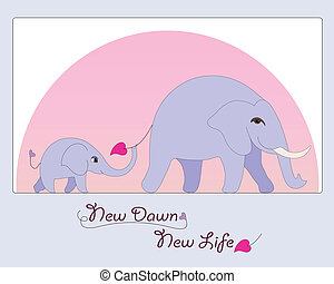 newborn csecsemő, elefánt