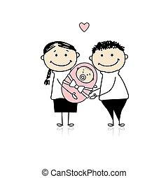 newborn csecsemő, szülők, boldog