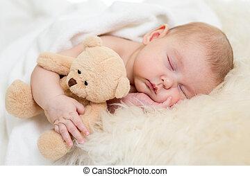 newborn csecsemő, szőr, ágy, alvás