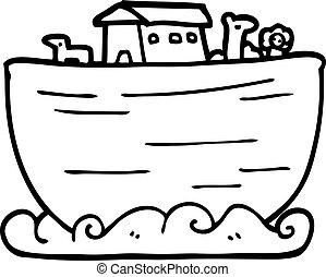 noahs, egyenes, bárka, rajz, karikatúra