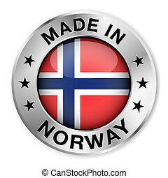 norvégia, elkészített, jelvény, ezüst