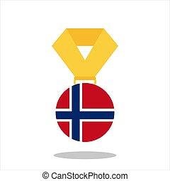 norvégia, -, elszigetelt, ábra, lobogó, vektor, háttér, fehér, érem