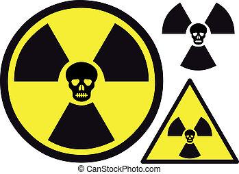 nukleáris, jelkép, koponya