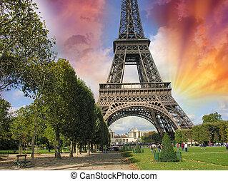 nyár, á-hang, párizs, eiffel., híres, kirándulás, napnyugta, felül, bástya, város