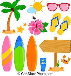 nyár, ábra, színes, szörfözás, collection., vektor