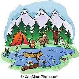 nyár, állat, kempingezés, frien