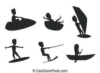 nyár, állhatatos, ábra, körvonal, vektor, sport