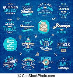 nyár, állhatatos, utazás, -, szünidő, ábra, vektor, tervezés, gépel