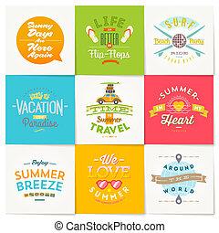 nyár, állhatatos, utazás, szünidő, vektor, tervezés, gépel
