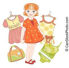 nyár, állhatatos, vöröses sárga, táska, leány, öltözék