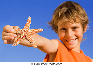 nyár, összpontosít, tengeri csillag, gyermek