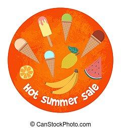 nyár, alapismeretek, poszter, kiárusítás, tropikus, háttér